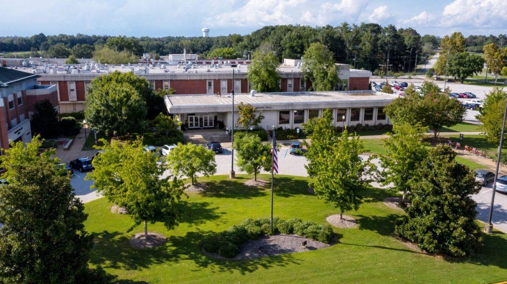 Aerial view of Greene Hall on Auburn Vet Med Campus