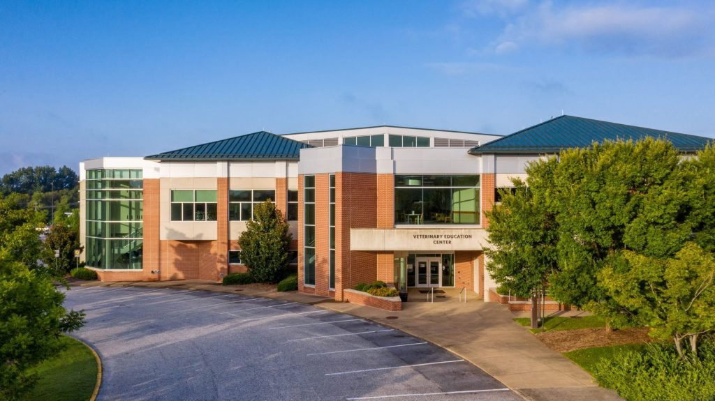 Aerial view of Veterinary Education Center, 2-story red brick building