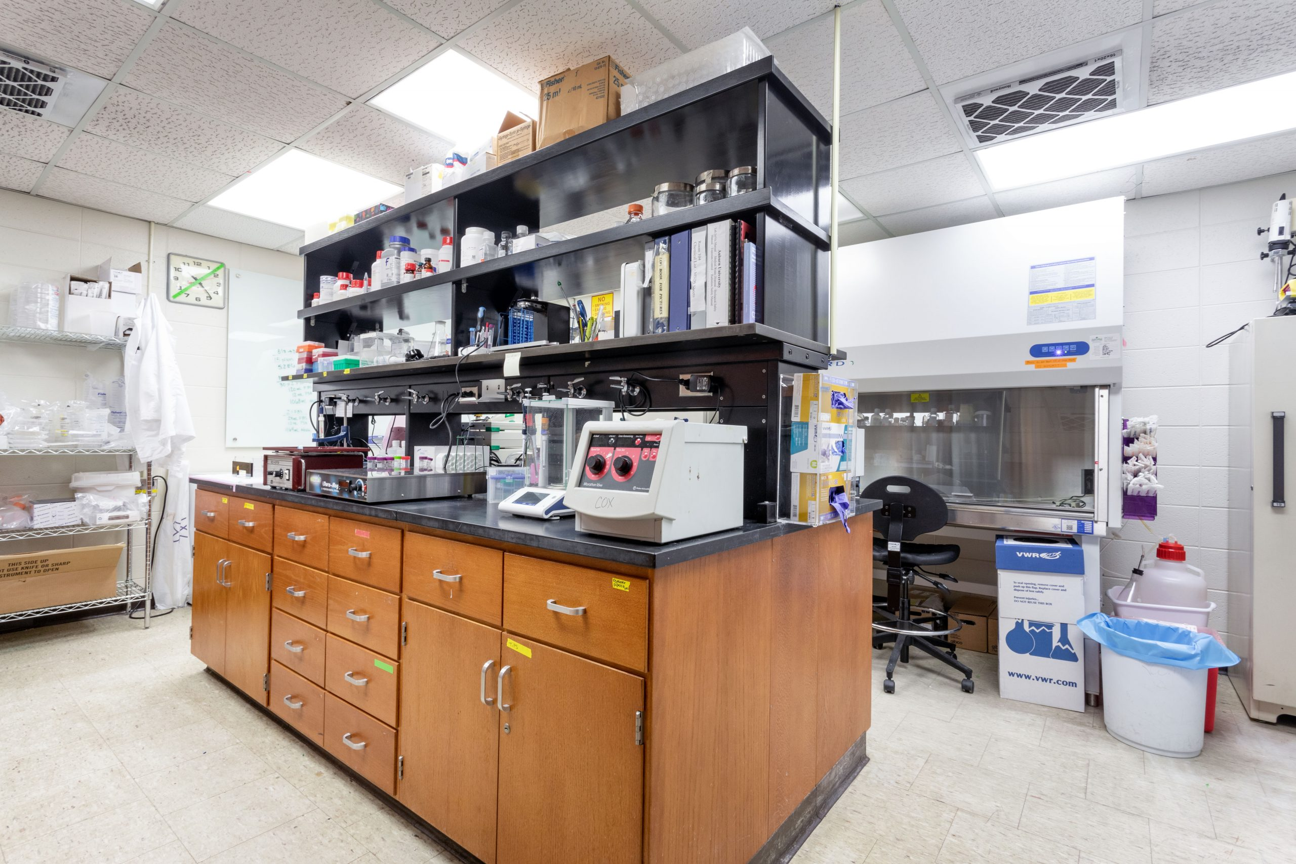 Research laboratory with various equipment and research supplies